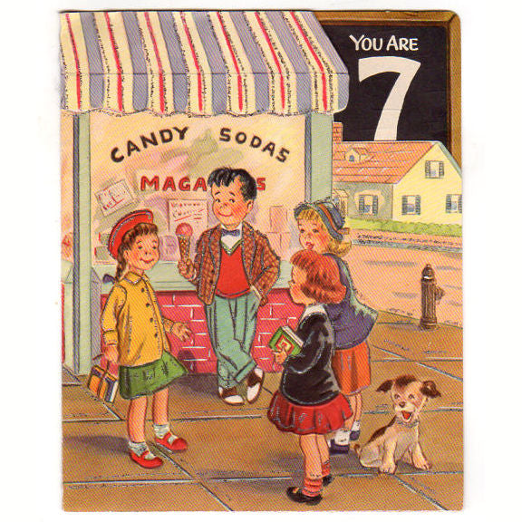 Vintage 1950s 7 Year Old Birthday Card Children At Soda And Candy Shop Used
