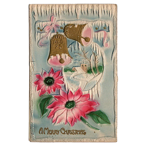 Large Frosted Gold Bell with Red Barn Scene Charming Embossed Vintage Unused Christmas Postcard