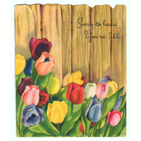 vintage get well greeting card tulips along wood fence unused - Get Well Greeting Cards