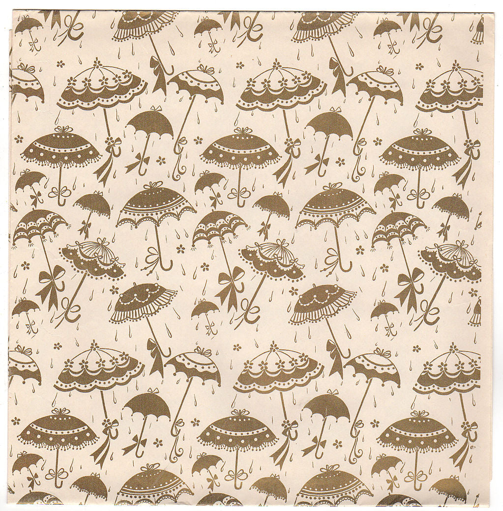 vintage gold umbrellas wedding shower wrapping paper sheet uncut
