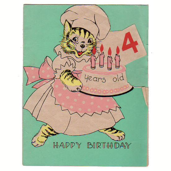 Vintage Unused Cat With Cake Birthday Greeting Card 4 Years Old