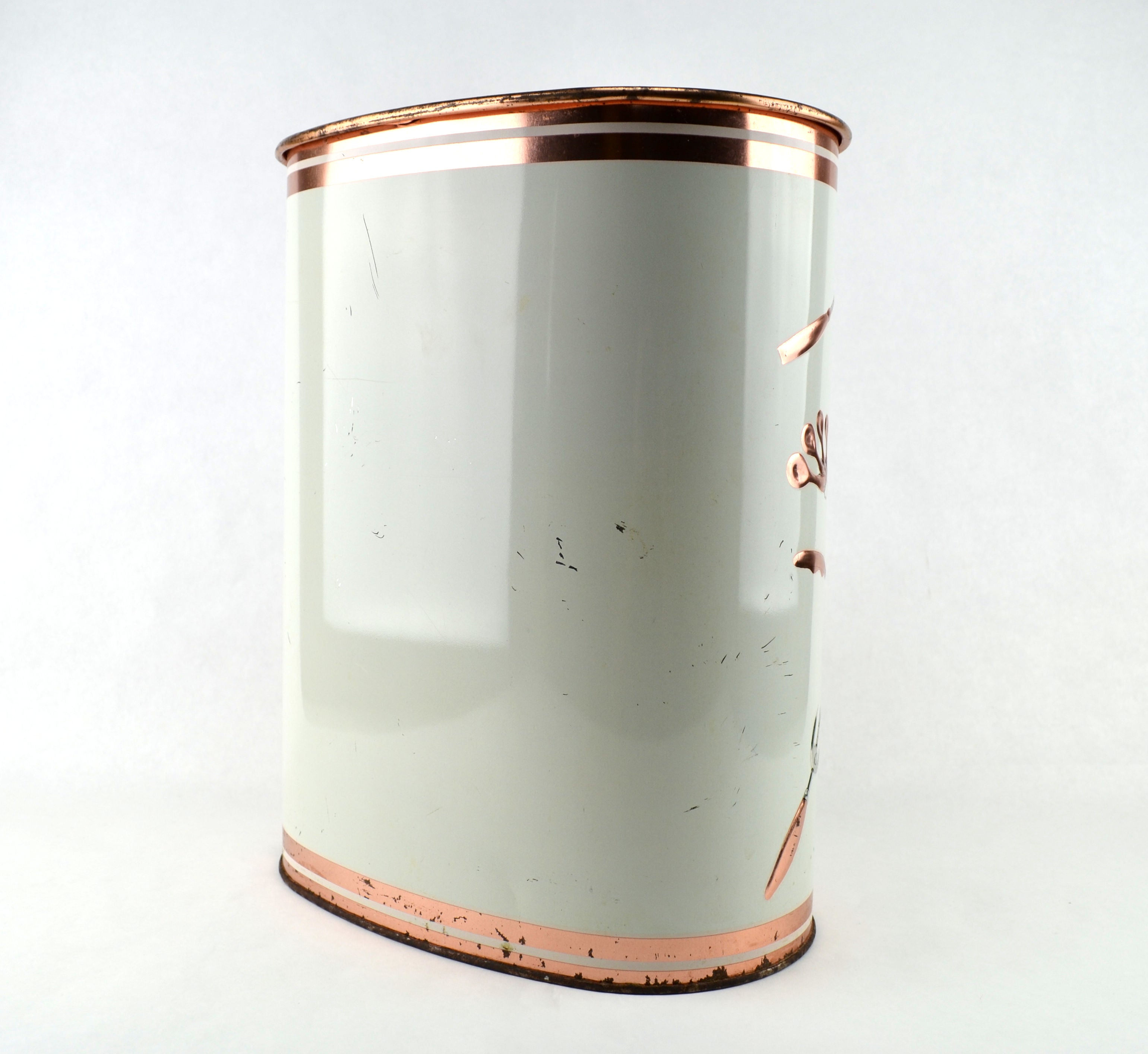 Vintage Weibro Metal Trash Can Waste Basket Copper and Silver Toned Kitchen  Gadgets