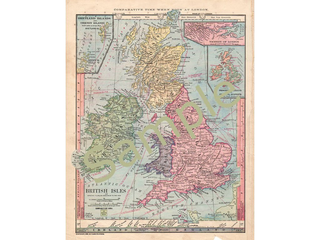 picture relating to Printable Map of Uk and Ireland titled Antique 1885 Printable Map of British Isles Eire England Wales Scotland United kingdom Quick Down load
