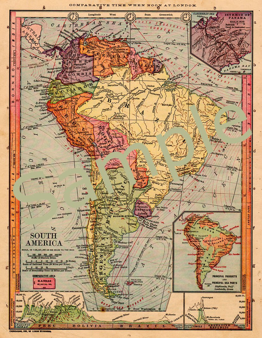 photograph about Printable Map of South America called Antique 1885 Printable Map of South The united states Ecuador Colombia Brazil Peru Argentina Chile Uruguay