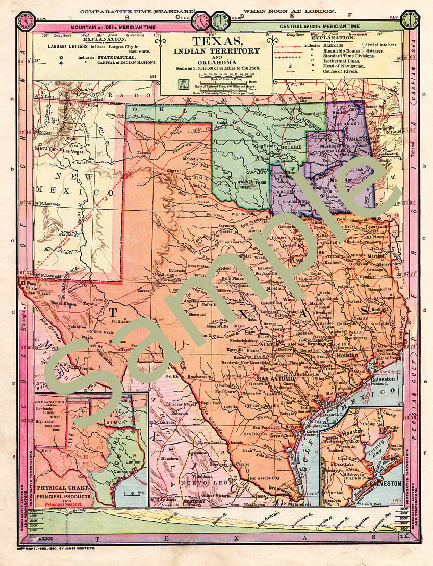 Antique 1885 Color Printable Map of Texas Oklahoma Indian Territory Instant  Download 1880s Color Cartography