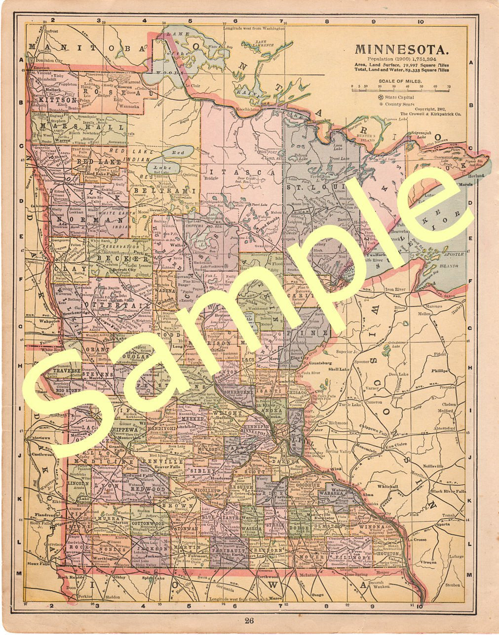 graphic relating to Houston Map Printable identify Antique 1902 Printable Region Map of Minnesota Demonstrating Counties Coloration Cartography