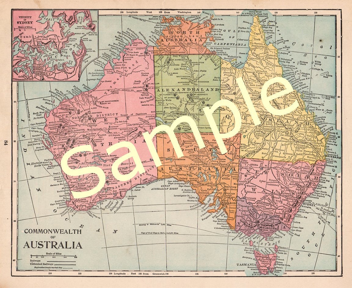 Full Map Of Australia.Antique Printable 1900 Color Map Of Australia Queensland Sydney Instant Download