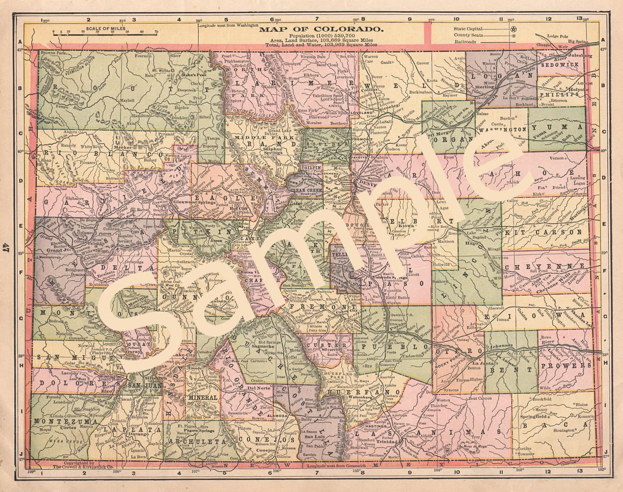photograph about Printable Map of Colorado identified as Antique 1900 Colorado Printable Colour County Map Instantaneous Down load
