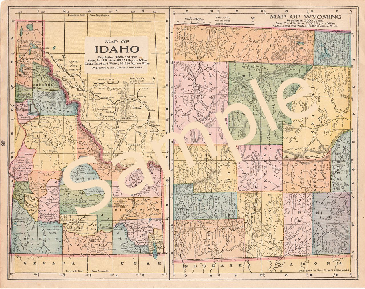 image relating to Printable Map of Idaho referred to as Idaho Wyoming Printable Antique County Maps Quick Obtain 1900s Shade Case in point