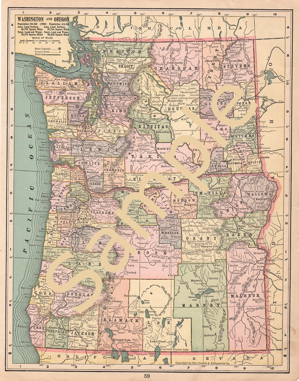 picture about Printable Map of Washington State identified as Printable Previous Map of Washington Country and Oregon Fast Cartography Down load