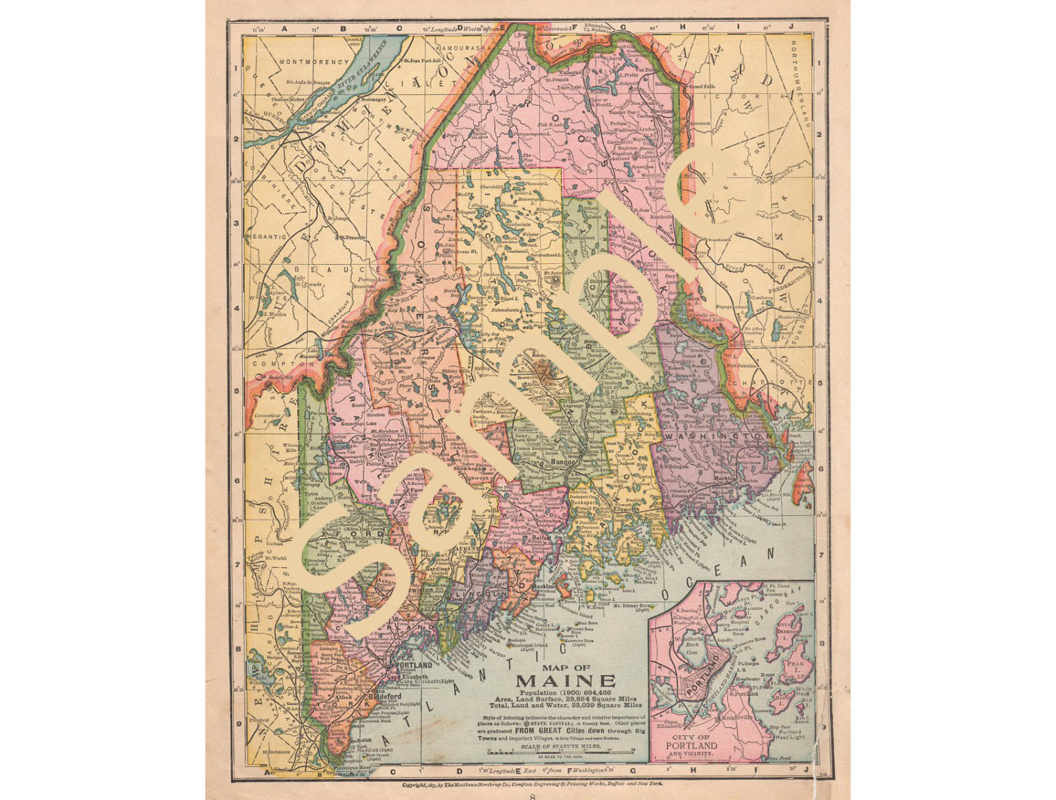 Old Maine Map.Avid Vintage Vintage Collectibles
