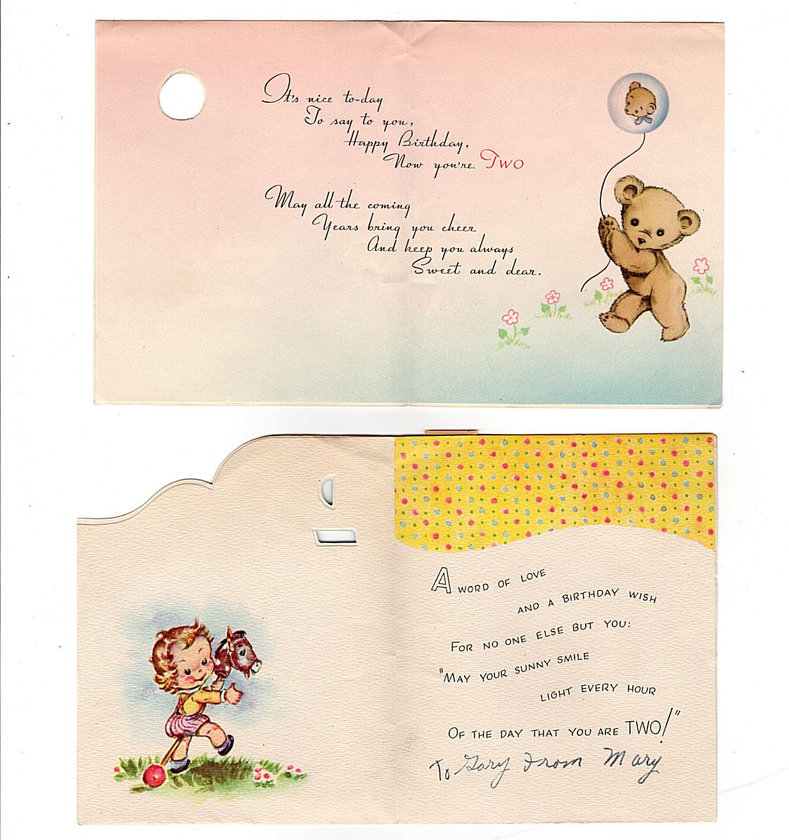 Avid vintage vintage collectibles vintage 1950s two year old birthday cards lot of 2 duck rocking toy stick horse doubl kristyandbryce Choice Image