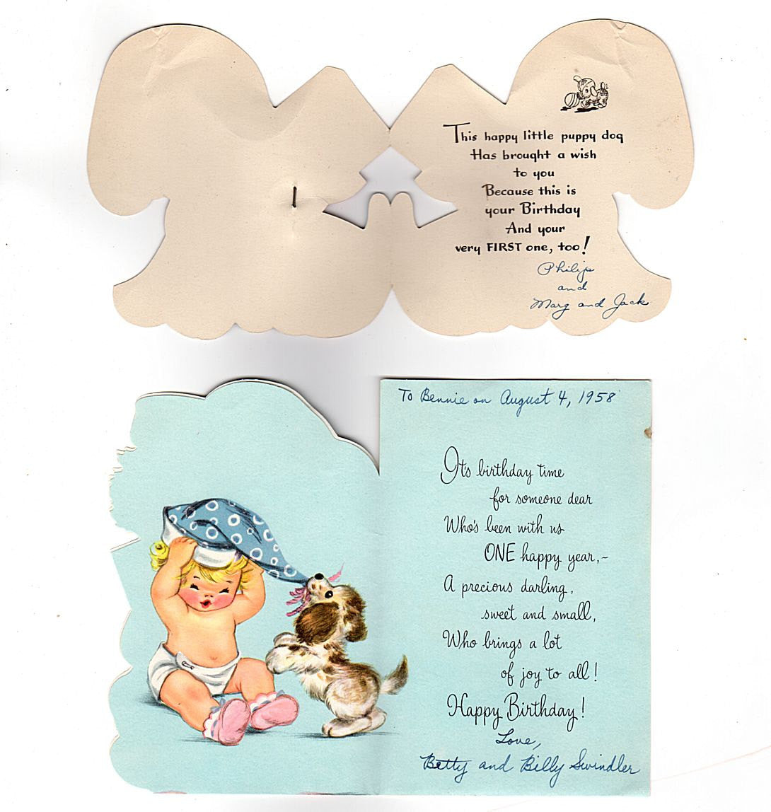 Vintage 1st Birthday Hallmark Greeting Cards One Year Old Lot Of 2 Puppy Baby Pin Used
