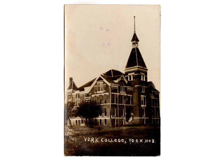 Vintage 1910's York Nebraska College Real Photo Postcard Huffman  Photographer Town View