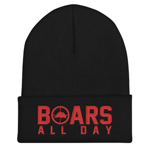 Hat - Boar In The Crosshairs - Beanie - Black & Red