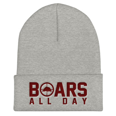 Hat - Boar In The Crosshairs - Beanie - Grey & Maroon