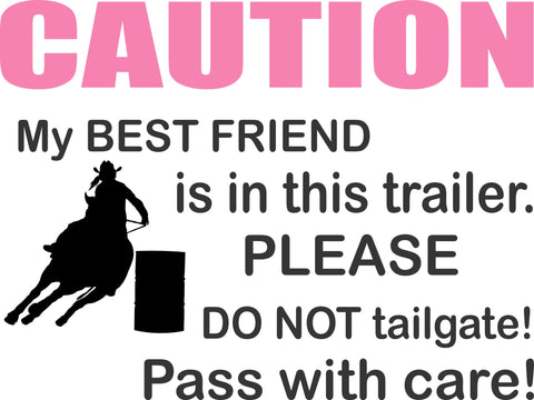 Large Caution Horses sign for Trailer Door