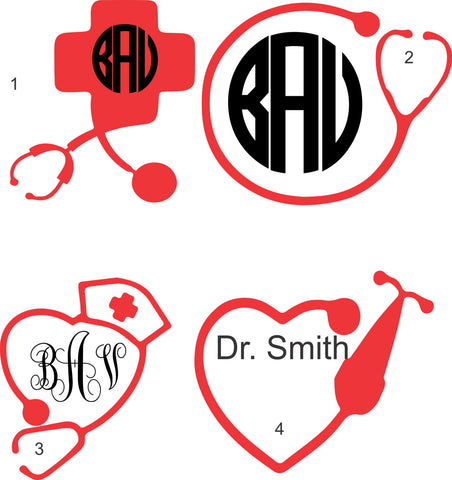Custom Stethoscoe Monogram Decal for nurses and doctors