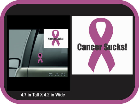 Cancer Sucks Ribbon Decal