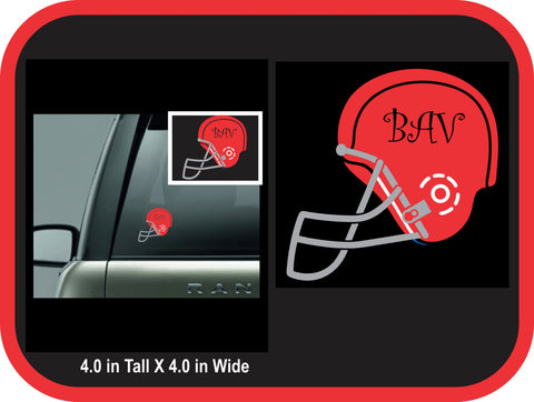 Football Helmet Monogram Decal