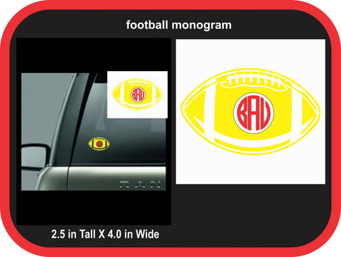 Football Monogram Decal