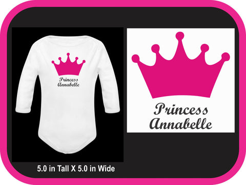 Princess Crown Custom Onesie Bodysuit - Princess Bodysuit - Crown Crawler - Pageant Outfit
