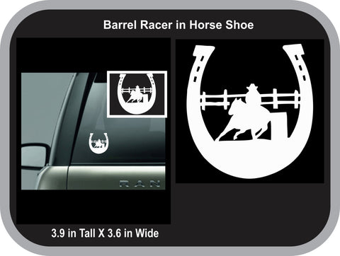 Barrelracer in Horseshoe decal