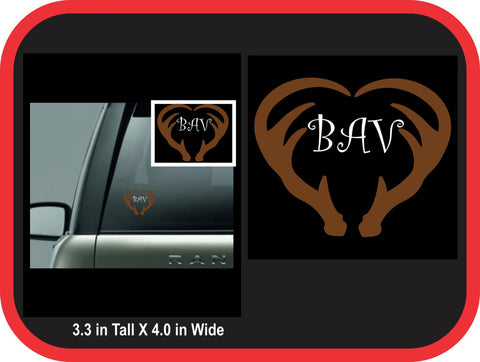 Antler Heart Monogram Decal