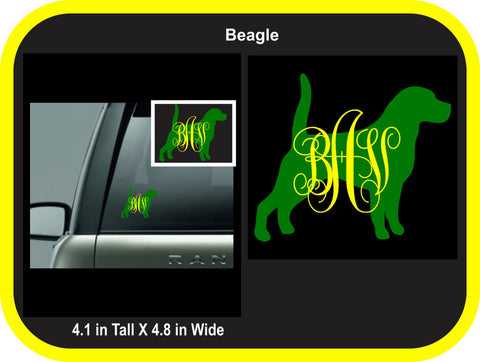 Beagle Monogram Decal
