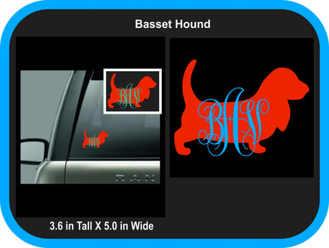 Basset Hound Monogram Decal