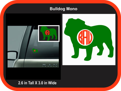 Bulldog Monogram Decal