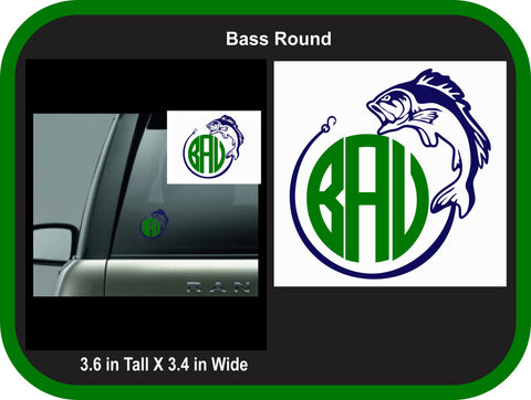Bass Fishing Round Monogram Decal