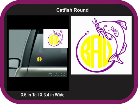 Catfish Fishing Round Monogram Decal