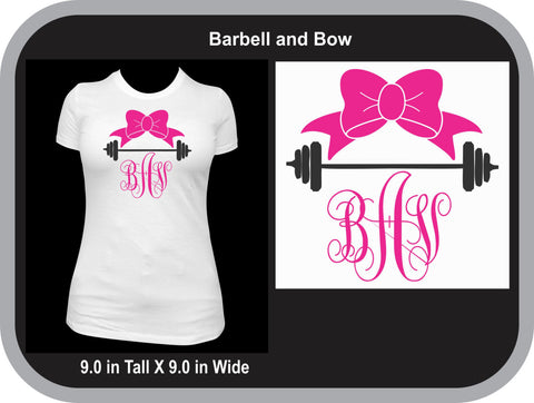 Barbell and Bow Monogram T-Shirt