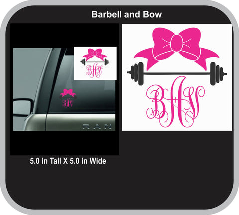 Barbell and Bow Monogram Decal