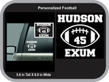 Personalized School Spirit Football Decal; Football Car Decal; School Decal