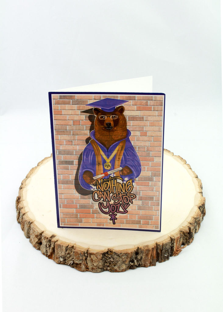 Graduation - All The Way Up Bear - Man Cards - Greeting Card - 1