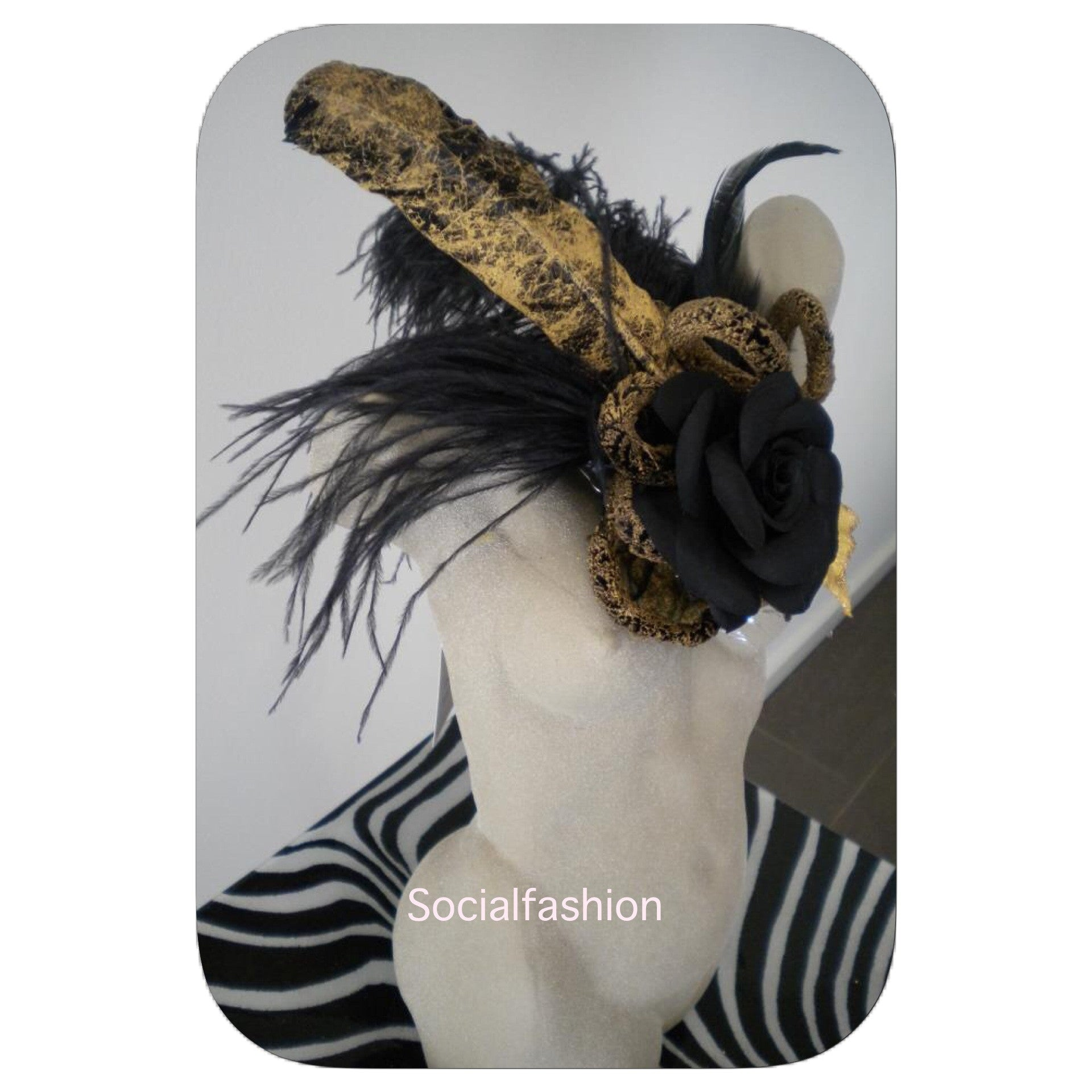 FASCINATOR Stardust gold & black