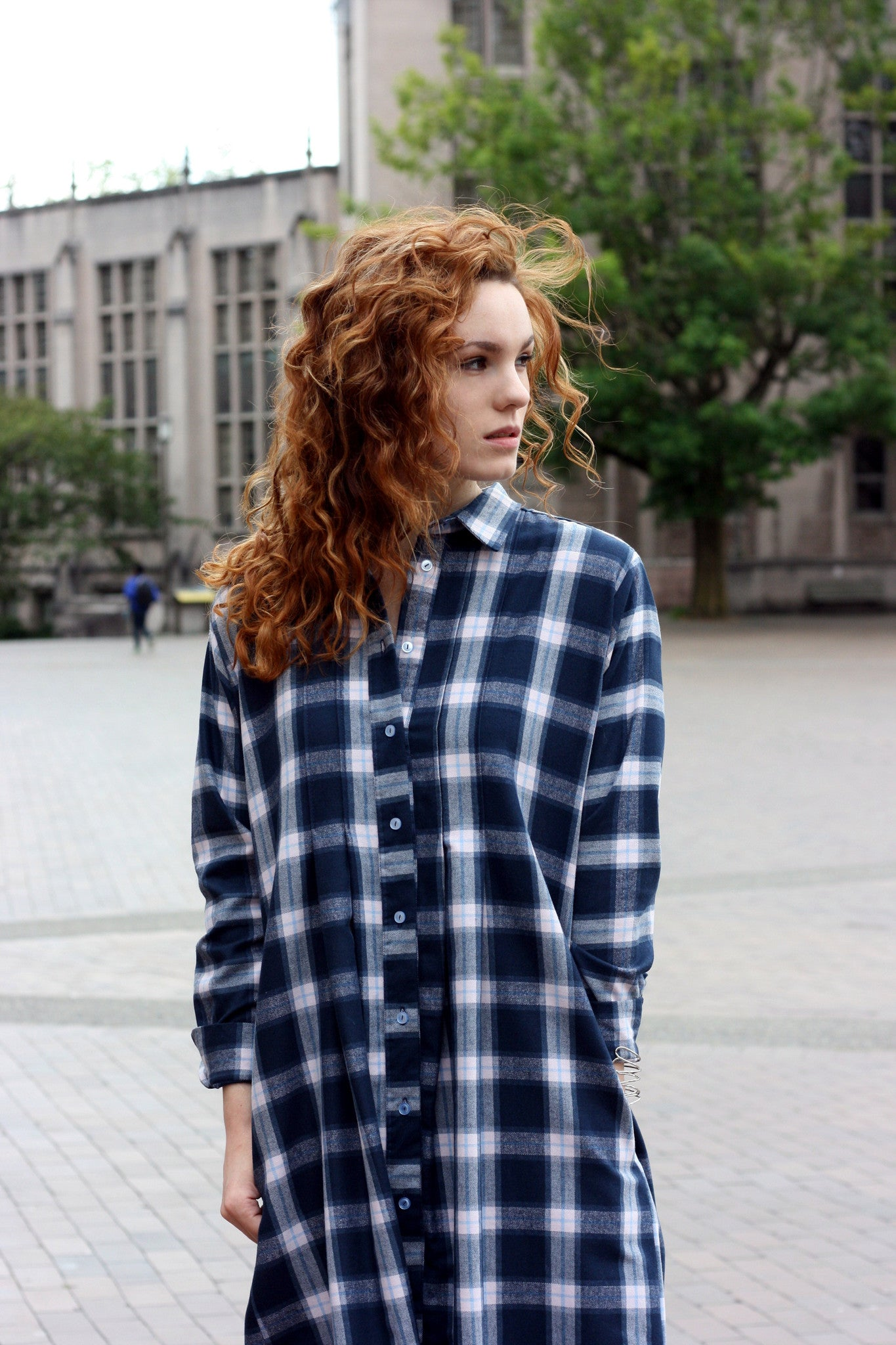 Small batch casual chic clothing sustainably handmade for every woman. Plaid Flannel Shirt Dress.