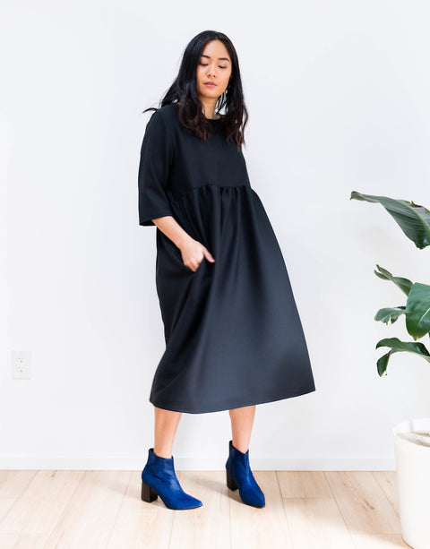 Wool Crepe Dress in Black