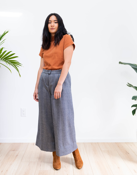 Wide Leg Herringbone Wool Pant