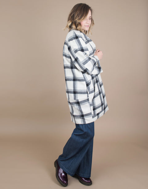 Small batch casual chic clothing sustainably handmade for every woman. Plaid Wool Coat.