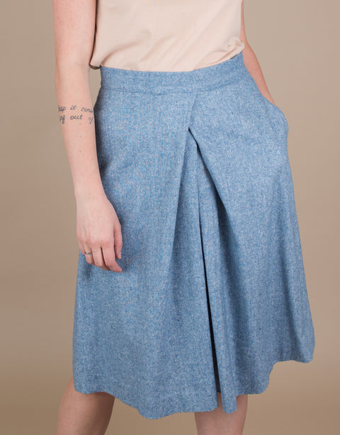Small batch casual chic clothing sustainably handmade for every woman. Blue Tweed Skirt with Pleats