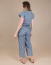 Small batch casual chic clothing sustainably handmade for every woman. Blue Floral Cotton Jumpsuit.
