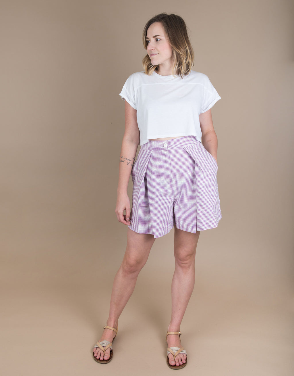 Small batch casual chic clothing sustainably handmade for every woman. Pleated Cotton Shorts.