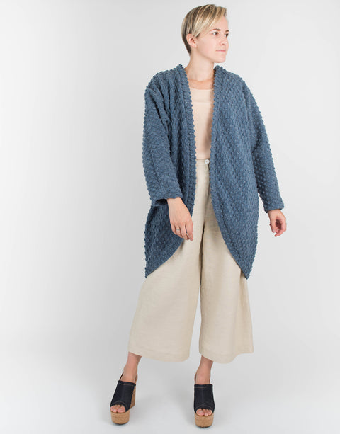Blue Wool Knit Cocoon Cardigan