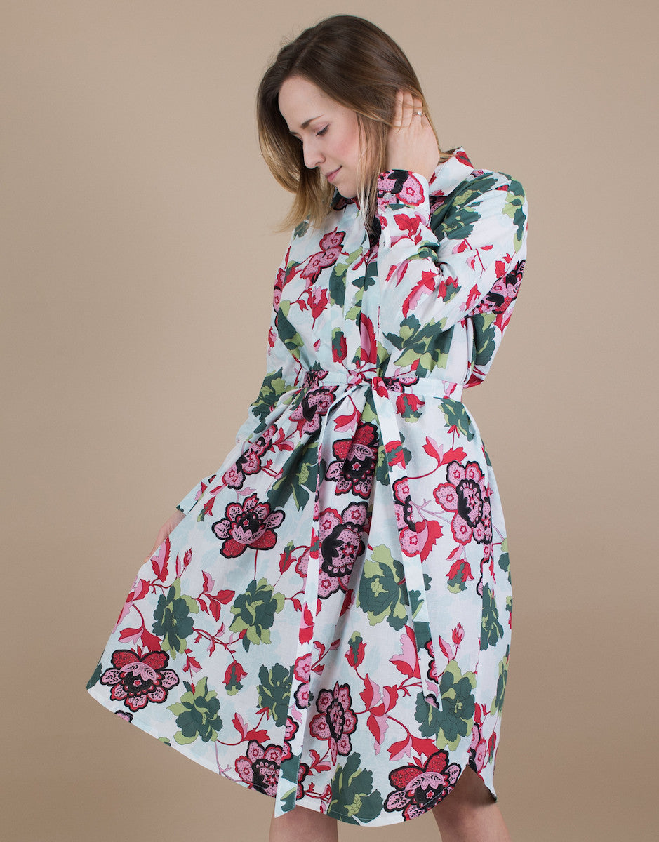 Small batch casual chic clothing sustainably handmade for every woman. Floral Shirt Dress.
