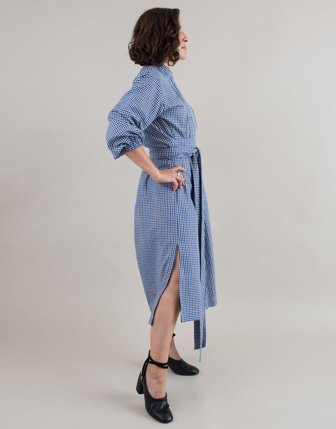 Small batch casual chic clothing sustainably handmade for every woman. Button Up Blue White Check Waist Tie Belt Shirt Dress.