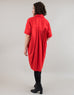 Small batch casual chic clothing sustainably handmade for every woman. Red Short Sleeve Pleated Button Up Shirt Dress.