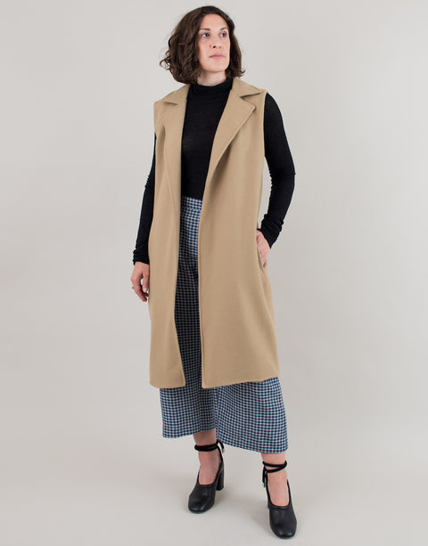 Small batch casual chic clothing sustainably handmade for every woman. Sleeveless Camel Wool Coat.